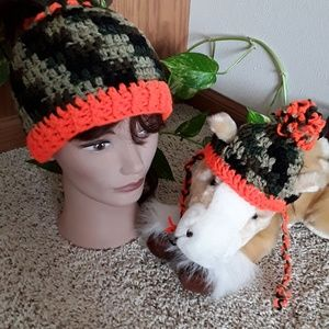Accessories - NWOT Camo/orange hat for you & your 🐶 fur baby!